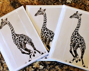 Giraffe in motion - Original art Blank Greeting Card for any Occasion
