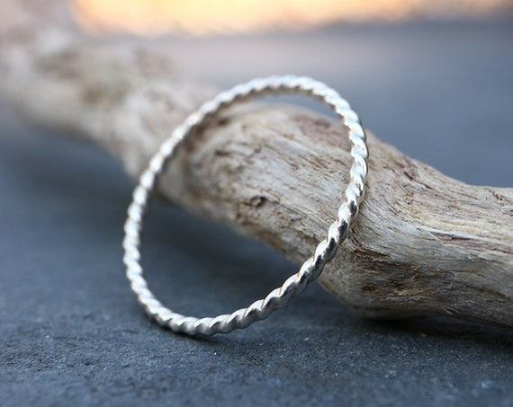 Twisted Rope Stacking Ring - Textured Sterling Silver Stacking Ring - 1.3mm Stackable Rings - Single Ring - The Ivy Bee
