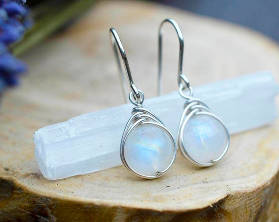 Rainbow Moonstone Earrings 925 - Wire Wrapped Drop Earring - Feminine Dainty Earrings - Healing Psychic Crystal - Ethereal - The Ivy Bee