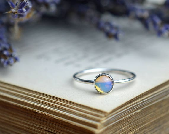 Opalite Ring 925 - Stacking Ring Sterling Silver - Opal Moonstone Quartz - Free Spirit, Stabilising, Psychic Stone