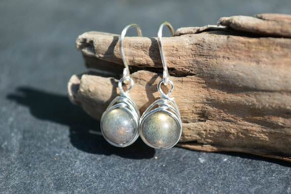 Labradorite Drop Earrings 925 - Wire Wrapped Earrings - Sterling Silver - Magical, Balancing Stress Reducing - The Ivy Bee
