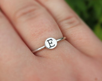 Initial Pebble Ring - Monogram Recycled Silver Pebble Ring - Personalisable Ring - Signet Ring - Organic Stackable Ring - The Ivy Bee