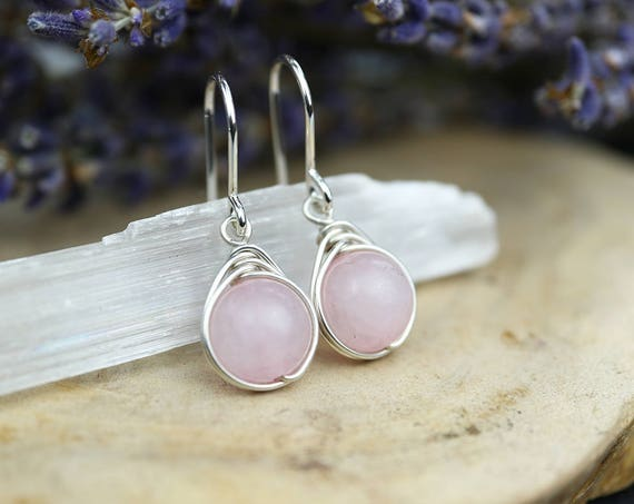 Rose Quartz Drop Earrings 925 - Wire Wrapped Earrings - Sterling Silver - Heart Stone - Love, Peace, Compassion, Healing Taurus