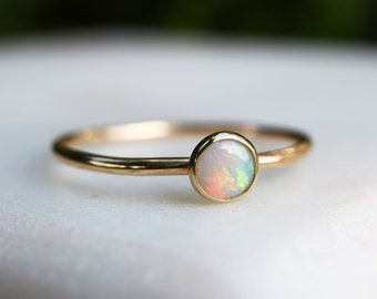 Solid 9ct Gold Opal Ring - Natural A++ Fine Quality Opal Stacking Ring - 4mm Alternative Engagement Ring - October Birthstone