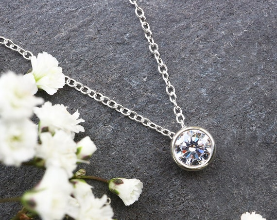Floating Diamond Solitaire Necklace - Cubic Zirconia CZ Sterling 925 - Single Diamond Necklace - Barely There - The Ivy Bee