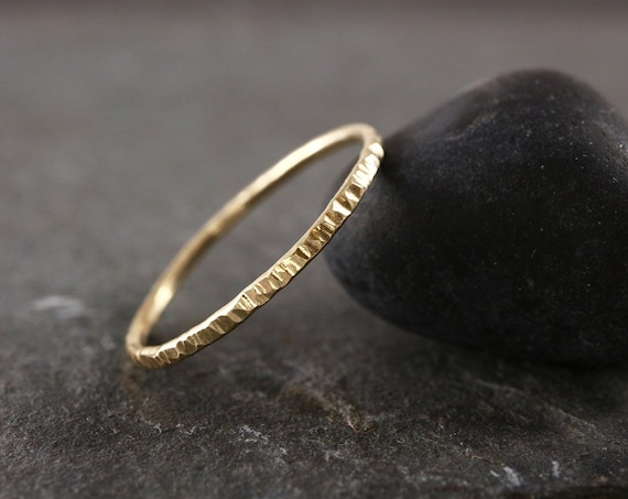 Bark Texture 9ct Solid Gold Ring - 1mm, 1.2mm Thin Wedding Band - 100% Recycled Gold - White Gold Rose Gold Ring, Yellow Gold - The Ivy Bee