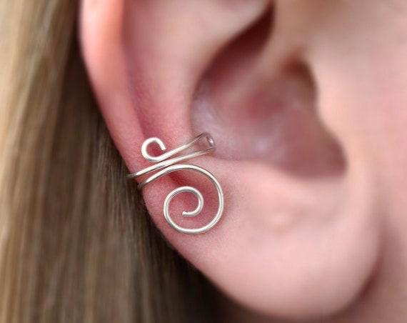Simple Sterling Ear Cuff - No Piercing Earring - 925 Ear Cuff - Modern Jewellery - Minimalist - Sterling Silver Cuff - The Ivy Bee