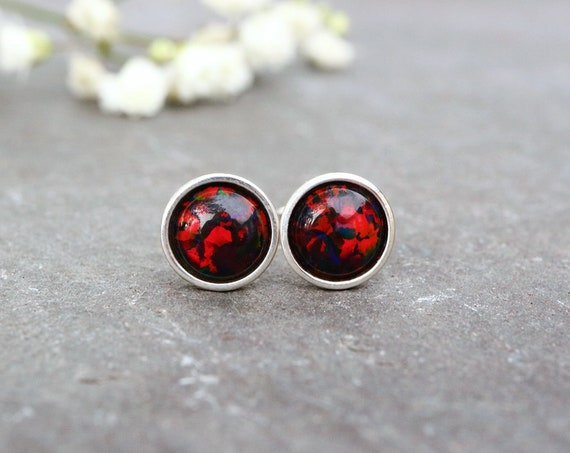 Black and Red Opal Earrings 925 - Minimalist Studs - Inspiration & Creativity - Multicolour Fire Opal - October Birthstone