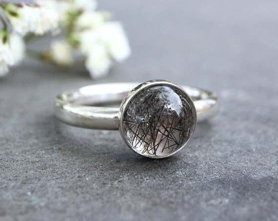 Tourmalated Quartz Ring 925 - Tourmaline in Quartz Chunky Ring - Black Rutile - Strong Negative Energy Shield  - The Ivy Bee
