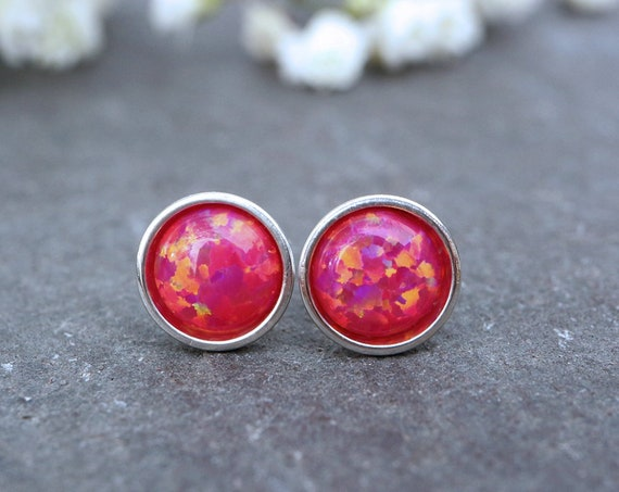 Deep Pink Opal Earrings 925 - Minimalist Studs - Inspiration & Creativity - Multicolour Fire Opal - October Birthstone
