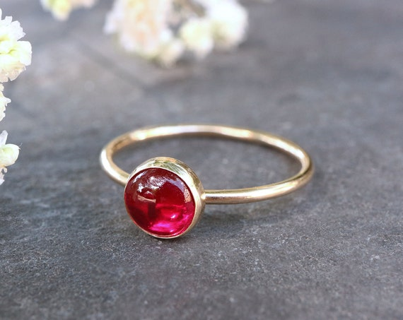 Solid Gold Ruby Stacking Ring - 9ct Yellow Gold Ruby Ring - Ruby Red - Stone of Nobility and Purity - July Birthstone