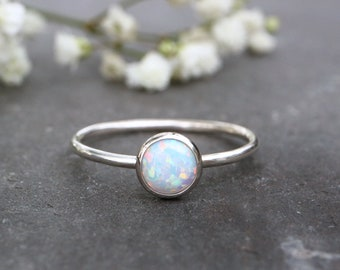 White Opal Ring 925 - Stacking Ring - Inspiration & Creativity - Multicolour  Opal - Alternative Engagement - October Birthstone