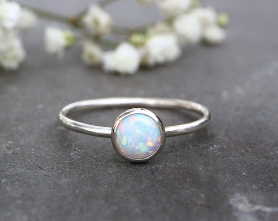White Opal Ring 925 - Stacking Ring - Inspiration & Creativity - Multicolour Fire Opal - Alternative Engagement - October Birthstone