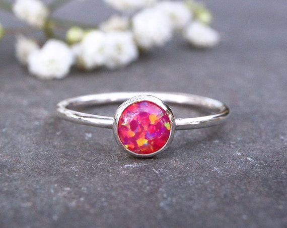 Deep Pink Opal Ring 925 - Stacking Ring - Inspiration & Creativity - Fire Opal - Alternative Engagement - October Birthstone
