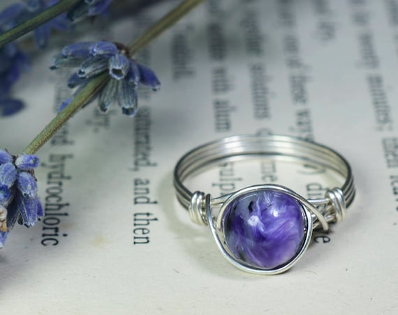 Purple Charoite Wire Wrapped Ring, Sterling Silver