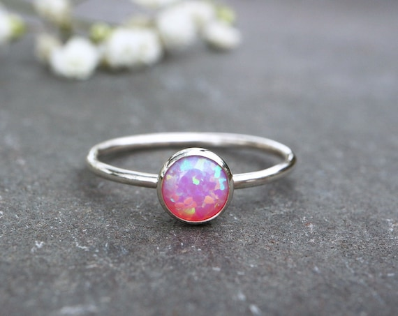 Pink Opal Ring 925 - Stacking Ring - Inspiration & Creativity - Fire Opal - Alternative Engagement - October Birthstone