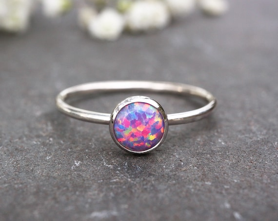 Purple Opal Ring 925 - Stacking Ring - Inspiration & Creativity - Fire Opal - Alternative Engagement - October Birthstone