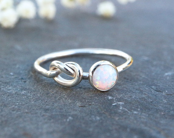 White Opal Knot Ring 925 - Inspiration & Creativity - Multicolour Fire Opal - Alternative Engagement - October Birthstone