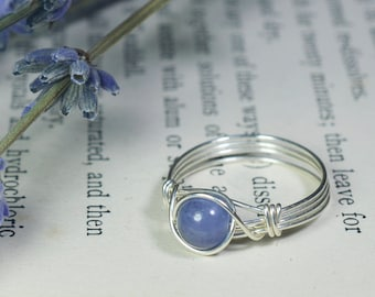 Tanzanite Ring 925 - Sterling Silver Wire Wrapped Ring - Violet Purple Ring - Stone of Magic - December Birthstone