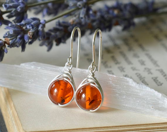 Amber Earrings 925 - Wire Wrapped Drop Earrings - Sterling Silver - Taurus - Clears The Mind and Eases Stress - The Ivy Bee
