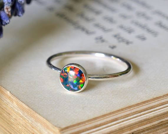 Black Opal Ring 925 - Stacking Ring - Inspiration & Creativity - Fire Opal - Alternative Engagement - October Birthstone