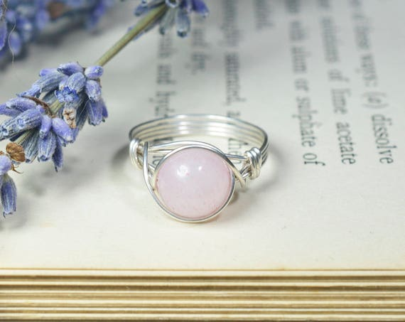Rose Quartz Ring 925 - Wire Wrapped Ring - Heart Stone - Love, Peace, Compassion, Healing - Boho Ring - Elven Ring - Taurus, Scorpio