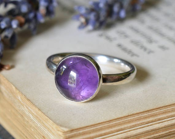Amethyst Ring - Amethyst Statement Ring 925 - Purple Ring - Calm, Balance, Patience and Peace - February Birthstone - The Ivy Bee
