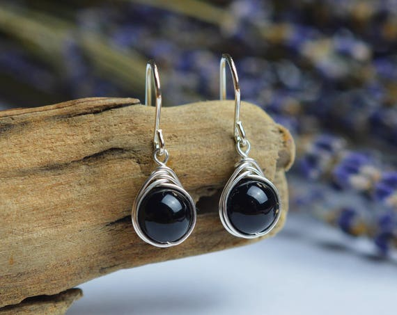 Black Onyx Earrings 925 -Wire Wrapped Drop Earrings- Sterling Silver - Self Control Intuition Decisions Protection  - The Ivy Bee
