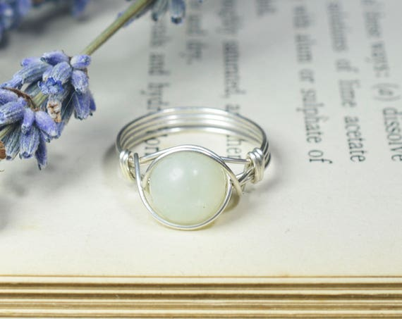 Chinese Jade Ring 925 - Wire Wrapped Ring- Sterling Silver - Attract Love, Money and Protection - Heart Chakra - May Birthstone -The Ivy Bee