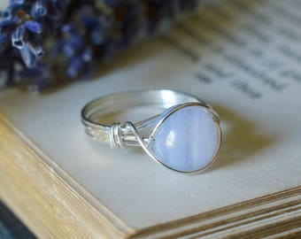 Blue Lace Agate Ring - Wire Wrapped Ring - Blue Ring - Soothing, Anxiety Calming Crystal - The Ivy Bee
