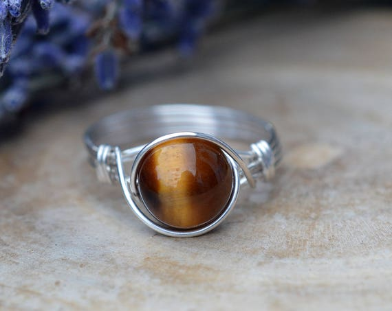 Tigers Eye Ring 925 - Wire Wrapped Ring - Brown and Gold Ring - Harmony, Creativity and Balance - Boho Ring - Elven Ring - Gemini Birthstone
