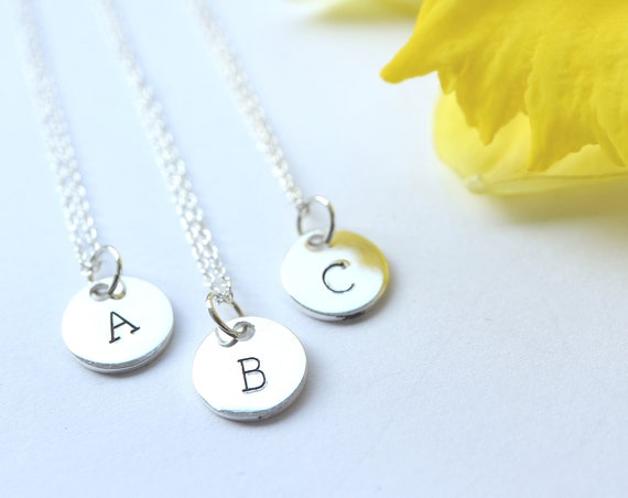 Sterling Silver Initial Necklace - Silver Monogram Necklace - 925 Handmade Personalised Necklace - The Ivy Bee