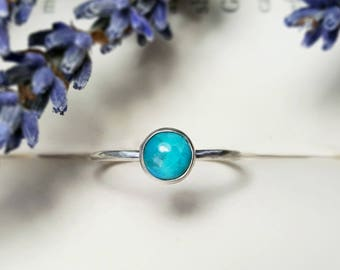 Turquoise Ring 925 - Stacking Ring - Blue Ring - Dainty Ring - December Birthstone