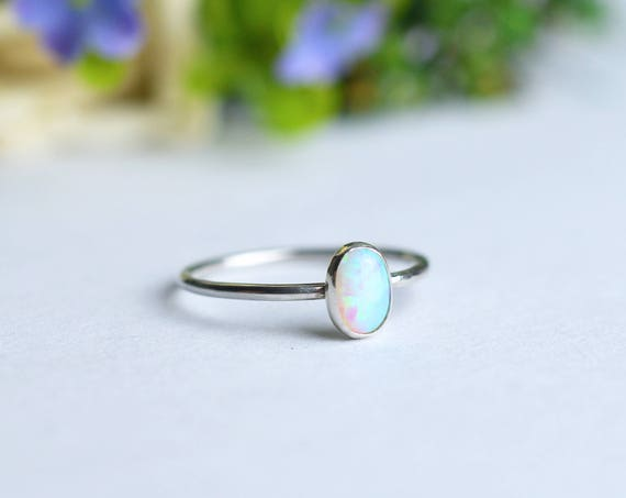 Oval White Opal Ring 925 - Multicolour Fire Opal - Alternative Engagement - October Birthstone