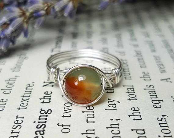 Rings One Of A Kind Sterling Silver Jewelry Wire Wrapped Handmade Wrap Tiger Eye Ring By Jandsgems Peacock Agate 925 Green And Orange