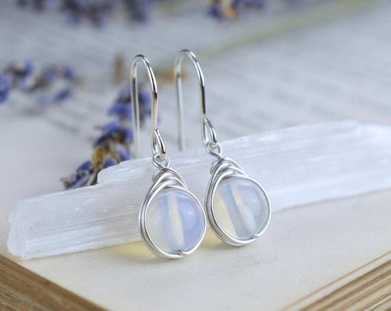 Opalite Earrings Wire Wrapped 925 - Sterling Silver - Drop Earrings Opal Quartz - Free Spirit, Stabilising, Psychic Stone - Third Eye Chakra