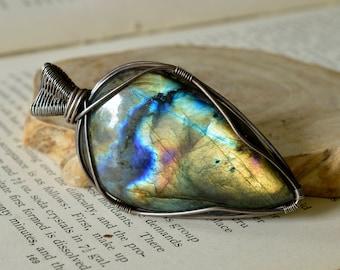Statement Labradorite Pendant - Sterling Silver Reversible - Multi Fire - Magical, Balancing, Stress Reducing