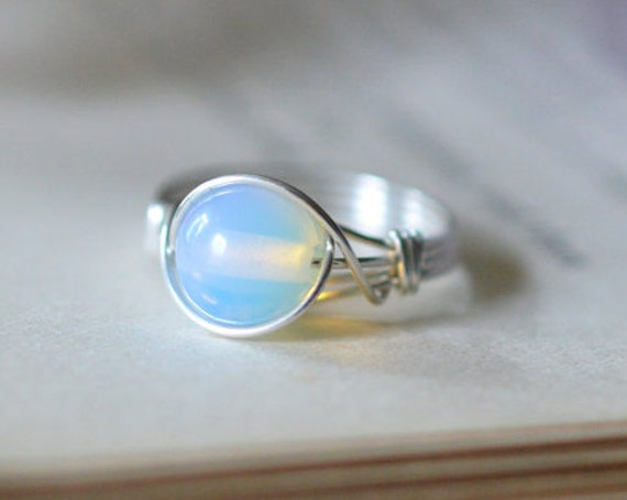 Opalite Ring 925 - Wire Wrapped Ring - Opal Quartz - Free Spirit, Stabilising, Psychic Stone - Boho Elven Style - Third Eye Chakra