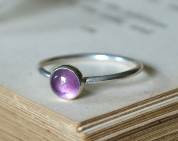 Amethyst Ring - Amethyst Stacking Ring 925 - Purple Ring - Calm, Balance, Patience and Peace - February Birthstone - The Ivy Bee