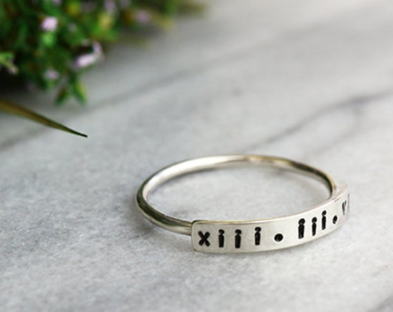 Personalised Bar Ring - Sterling Silver Hand Stamped Numerals Ring - Engraved Message Ring - Stackable Initial Ring - The Ivy Bee