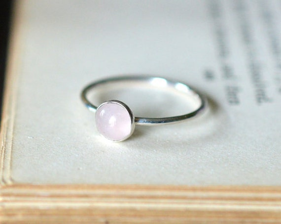 Rose Quartz Ring 925 - Stacking Ring - Heart Stone - Love, Peace, Compassion, Healing - Taurus - January Birthstone