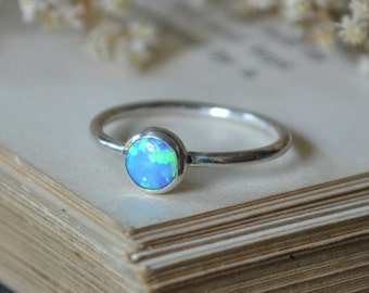 Blue Opal Ring 925 - Stacking Ring - Inspiration & Creativity - Multicolour  Opal - October Birthstone