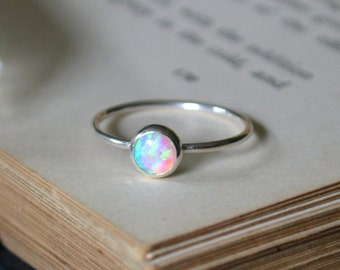Opal Ring 925 - Stacking Ring - Inspiration & Creativity - Multicolour  Opal - Alternative Engagement - October Birthstone