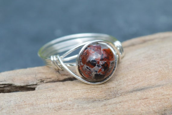Poppy Jasper Ring 925 - Wire Wrapped Ring - Deep Red Ring - Strength, Clarity and Vitality - Boho Style - Elven Style - Aries & Scorpio