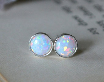 White Opal Earrings 925 - Minimalist Studs - Inspiration & Creativity - Multicolour Fire Opal - Wedding Bridesmaid Gift - October Birthstone