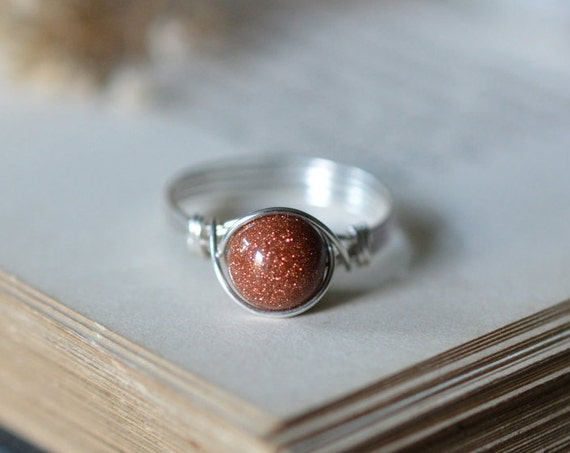 Goldstone Ring 925 -  Wire Wrapped Ring - Sunstone Ring - Gold Ring - Stone of Ambition - Boho Ring - Elven Ring - Sagittarius Zodiac Stone