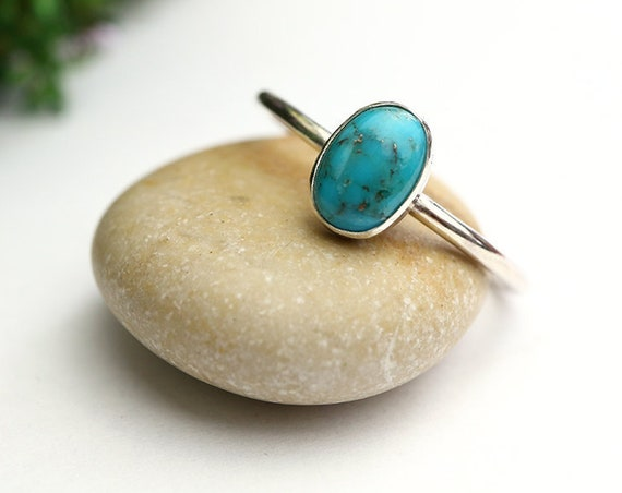 Oval Turquoise Ring 925 - Stacking Ring - Blue Ring - Dainty Ring - December Birthstone