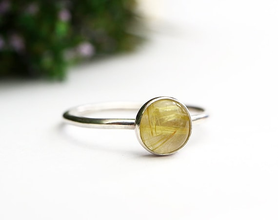 Golden Rutile Quartz Ring 925 - Gold Rutilated Quartz Stacking Cabochon Ring - Energizing, Thought Clearing - Leo