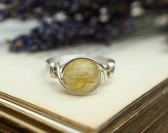 Rutilated Quartz Ring 925 - Rutile Quartz - Wire Wrapped Ring - Gold Ring - Energizing, Thought Clearing Crystal - Leo Birthstone