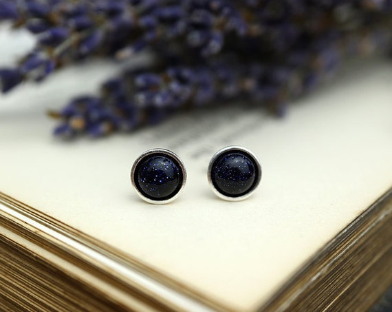 Blue Goldstone Earrings 925 - Stars in the Night Sky - Blue Sandstone / Sunstone - Stone of Ambition - Sagittarius